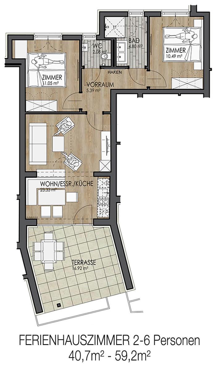 Krumpendorf Gartenappartement/Bungalow 4-6 Personen