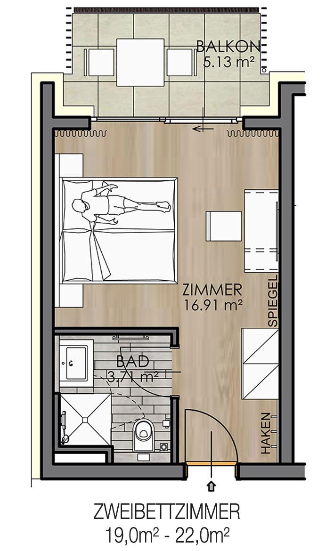 Krumpendorf Haupthaus Zweibettzimmer